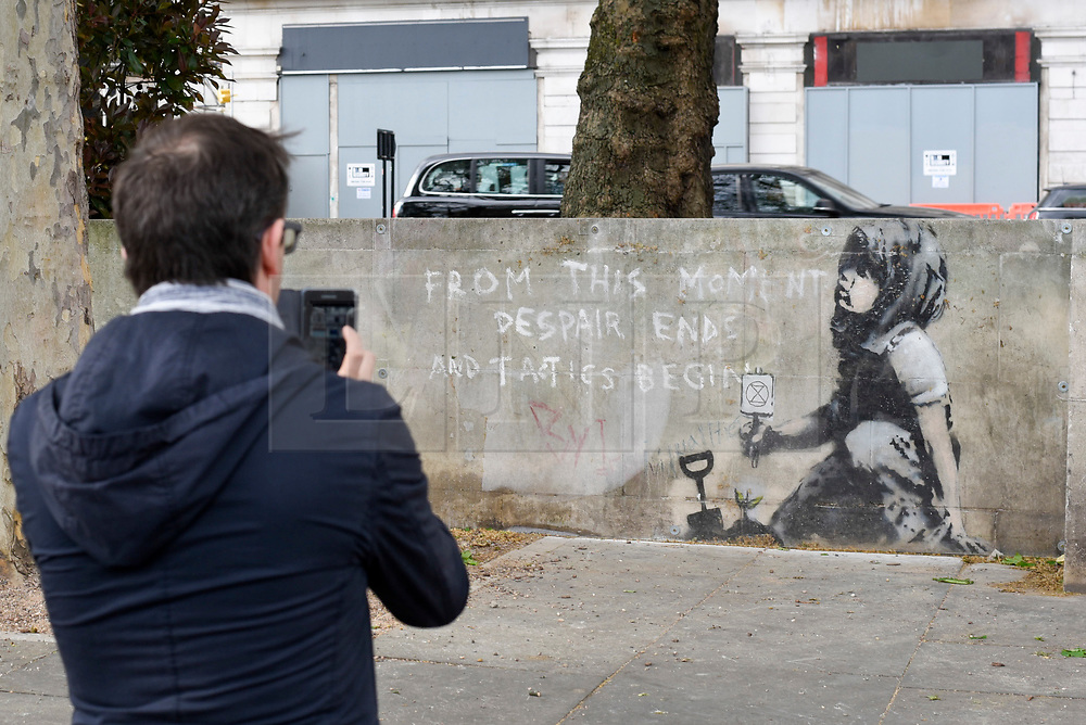 """© Licensed to London News Pictures. 27/04/2019. LONDON, UK.  A man views an artwork which has appeared on a wall at Marble Arch following ten days of protests in London by Extinction Rebellion, a group demanding that governments take action to tackle climate change.  Now covered in a protective plastic cover, the artwork has been attributed to the celebrated street artist Banksy and depicts an image of a plant and a girl holding a gardening tool with the Extinction Rebellion logo on it next to the text """"From this moment despair ends and tactics begin"""".  Photo credit: Stephen Chung/LNP"""