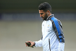 1st August 2017 - Pre-Season Friendly - Burton Albion v Leicester City - Riyad Mahrez of Leicester looks at his mobile phone before the match - Photo: Simon Stacpoole / Offside.
