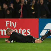 Tony Woodcock scores a try for New Zealand during the New Zealand V France Final at the IRB Rugby World Cup tournament, Eden Park, Auckland, New Zealand. 23rd October 2011. Photo Tim Clayton...