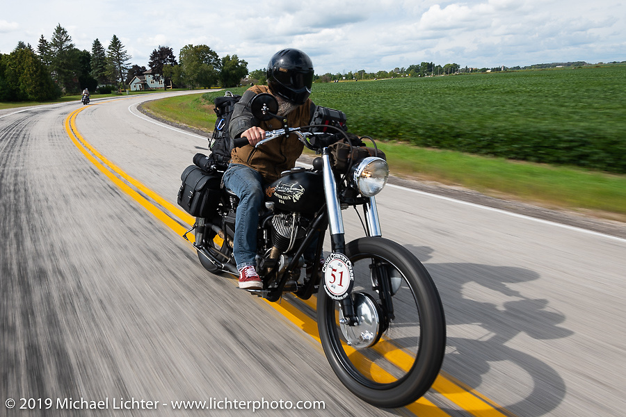 Shane Masters riding his Class III 1948 Indian Chief in the Cross Country Chase motorcycle endurance run from Sault Sainte Marie, MI to Key West, FL (for vintage bikes from 1930-1948). Stage 2 from Ludington, MI to Milwaukee, WI, USA. Saturday, September 7, 2019. Photography ©2019 Michael Lichter.