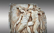 Roman Sebasteion relief sculpture of Achilles and a dying Amazon, Aphrodisias Museum, Aphrodisias, Turkey.   <br /> <br /> Achilles supports the dying Amazon queen Penthesilea whom he has mortally wounded. Her double headed axe slips from her hands. The queen had come to fight against the Greeks in the Trojan war and Achilles fell in love with her. .<br /> <br /> If you prefer to buy from our ALAMY STOCK LIBRARY page at https://www.alamy.com/portfolio/paul-williams-funkystock/greco-roman-sculptures.html . Type -    Aphrodisias     - into LOWER SEARCH WITHIN GALLERY box - Refine search by adding a subject, place, background colour, museum etc.<br /> <br /> Visit our ROMAN WORLD PHOTO COLLECTIONS for more photos to download or buy as wall art prints https://funkystock.photoshelter.com/gallery-collection/The-Romans-Art-Artefacts-Antiquities-Historic-Sites-Pictures-Images/C0000r2uLJJo9_s0