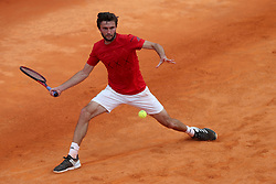 April 30, 2018 - Estoril, Portugal - Gilles Simon of France returns a ball to Pedro Sousa of Portugal during the Millennium Estoril Open ATP 250 tennis tournament - round 1, at the Clube de Tenis do Estoril in Estoril, Portugal on April 30, 2018. (Credit Image: © Pedro Fiuza/NurPhoto via ZUMA Press)