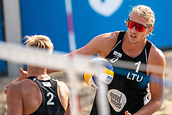 Patrikas Stankevicius (1) of Lithuania, Audrius Knasas (2) of Lithuania in action during CEV Continental Cup Final Day 1 - Women on June 23, 2021 in The Hague