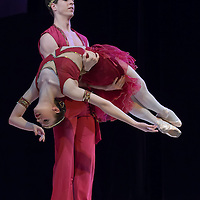 Barbara Szabo and Gyorgy Baliko both ninth year students of the Hungarian Dance Academy perform The Pirate pas de deux (pas d'esclave) choreographed by Marius Petipa, music by Oldenburg during a gala performance held at the National Dance Theatre in Budapest, Hungary on February 27, 2013. ATTILA VOLGYI