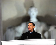 """President Elect Barack Obama speaks at the """"We Are One""""  The Obama Inaugural Celebration at the Lincoln Memorial on January 18, 2009.   Photo by Dennis Brack"""