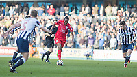 Football - 2016 / 2017 FA Cup - Fifth Round: Millwall vs. Leicester City <br /> <br /> Ahmed Musa of Leicester City drives forward between the Millwall defence at The Den<br /> <br /> COLORSPORT/DANIEL BEARHAM