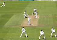 Chris Rushworth (Durham County Cricket Club) misses a catch against Jeetan Patel (Warwickshire County Cricket Club) during the LV County Championship Div 1 match between Durham County Cricket Club and Warwickshire County Cricket Club at the Emirates Durham ICG Ground, Chester-le-Street, United Kingdom on 15 July 2015. Photo by George Ledger.