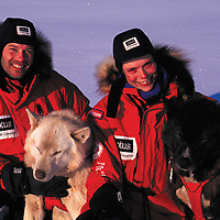 ARCTIC BLAST EXPED. Paul Prejont & Mille Porsild with their sled dogs.
