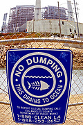 No Dumping sign, AES Power plant, Los Cerritos Channel, Long Beach, California, USA