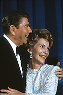 President Ronald Reagan and First lady Nancy Reagan at Inaugural Ball in January 1985...Photograph by Dennis Brack bb30