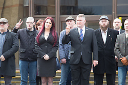 @Licensed to London News Pictures 07/03/2018. Folkestone, UK. Leader Mr Paul Golding and deputy leader Jayda Fransen of far right group Britain First enter Folkestone Magistrates Courts today over allegations of religiously aggrevated harassment.Photo credit: Manu Palomeque/LNP