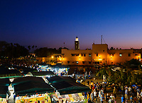MARRAKESH, MOROCCO - CIRCA APRIL 2018: View of the square Jemaa el-Fnaa, at night in Marrakesh