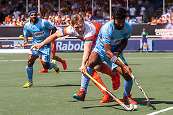 (L-R) Birenda Lakra of India, Mirco Pruyser of The Netherlands, Surender Kumar of India during the Champions Trophy match between the Netherlands and India on the fields of BH&BC Breda on June 30, 2018 in Breda, the Netherlands