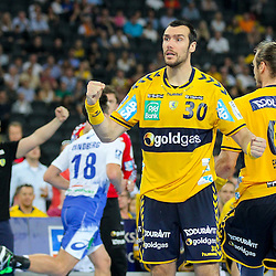 Rhein-Neckars Gedeon Guardiola (Nr.30) jubelt im Spiel Rhein-Neckar-Loewen - HSV Handball.<br /> <br /> Foto © P-I-X.org *** Foto ist honorarpflichtig! *** Auf Anfrage in hoeherer Qualitaet/Aufloesung. Belegexemplar erbeten. Veroeffentlichung ausschliesslich fuer journalistisch-publizistische Zwecke. For editorial use only.
