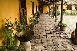 South America, Ecuador, Lasso, courtyard of Hacienda San Agustin de Callo   PR