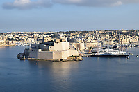 Fort at Valetta Harbour, with the Maltese falcon yacht moored besides the fort
