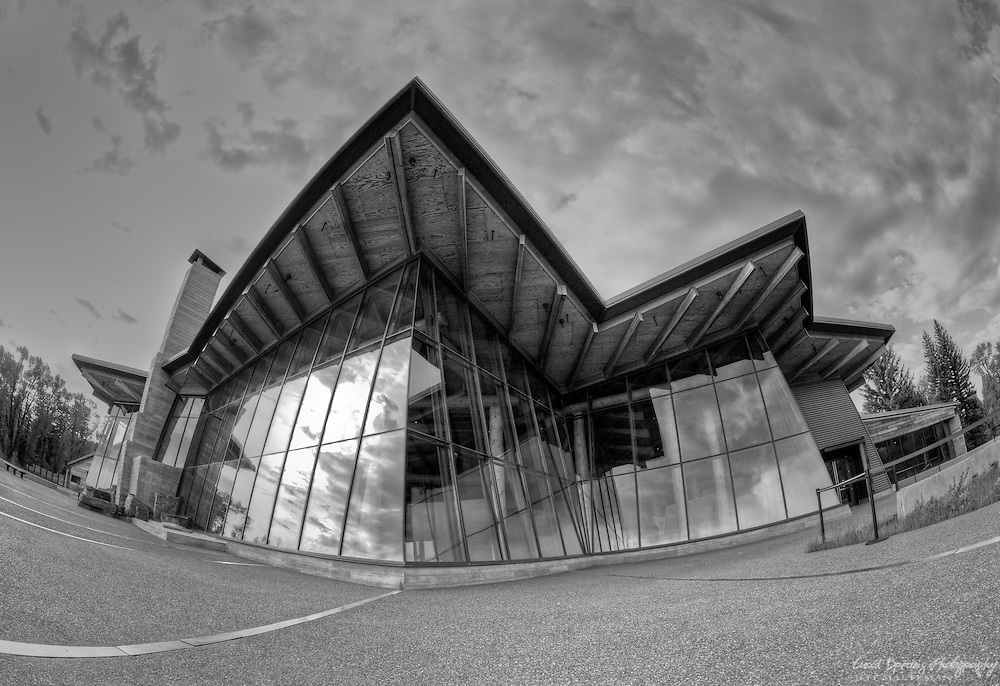 A fisheye view of the Visitors' Welcome Center at Grand Teton National Park, Wyoming