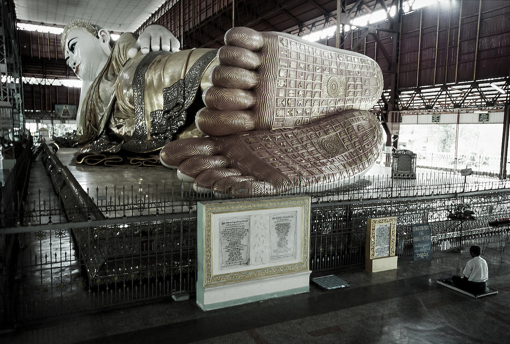 Yangon, Myanmar - May 2006<br /> Chauk Htat Kyee reclining Buddha.<br /> This pagoda was built in 1907 and has 72 meters long. <br /> Photo: Ezequiel Scagnetti