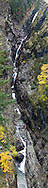 Gorge Creek Falls and fall foliage in North Cascades National Park, Washington State, USA.
