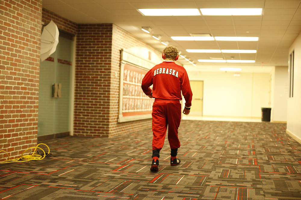 Senior Anthony Abidin paces before his final home match  at the Bob Devaney Sports Center in Lincoln, Neb., on Feb. 12, 2016. Photo by Aaron Babcock, Hail Varsity