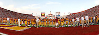 1 September 2007: Teammates line up in the endzone for a tribute to former punt kicker Mario Danleo before the start of the USC Trojans college football team defeated the Idaho Vandals 38-10 at the Los Angeles Memorial Coliseum in CA.  NCAA Pac-10 #1 ranked team first game of the season.