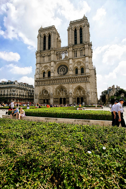 The West Facade of the Notre Dame Cathedral, Paris, France (Vertical).