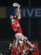 Cory Hill of the Dragons and Billy Holland of Munster at the line out. <br /> Guinness Pro12 rugby match, Munster v Newport Gwent Dragons at Thomond Park in Limerick , Ireland on Saturday 5th March 2016.<br /> pic by  John Halas, Andrew Orchard sports photography.