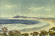 Blaauwberg and Head of Table Bay, Cape South Africa From the book ' The Cape peninsula: pen and colour sketches ' described by Réné Juta and painted by William Westhofen. Published by A. & C. Black, London  J.C. Juta, Cape Town in 1910