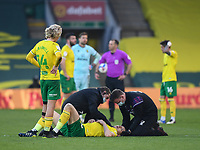 Football - 2020 / 2021 Sky Bet Championship - Norwich City vs Watford - Carrow Road<br /> <br /> Jordan Hugill of Norwich City treated for a head injury.<br /> <br /> COLORSPORT