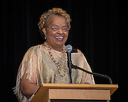 Retired Texas Department of Criminal Justice senior warden Dessie McCoy-Cherry comments during the Houston ISD Police awards banquet at Thompson Elementary School, August 15, 2014.