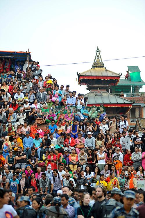 September 15, 2016 - Kathmandu, NE, Nepal - Thousands of Nepalese devotees observing the festival on the third day of Indra Jatra Festival celebrated at Basantapur Durbar Square, Kathmandu, Nepal on Thursday, September 15, 2016. Devotees celebrated the god of rain 'Indra' for 8 days in Kathmandu. (Credit Image: © Narayan Maharjan/NurPhoto via ZUMA Press)