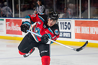 KELOWNA, BC - MARCH 11: Alex Swetlikoff #17 of the Kelowna Rockets takes a shot on net during warm up against the Victoria Royals at Prospera Place on March 11, 2020 in Kelowna, Canada. (Photo by Marissa Baecker/Shoot the Breeze)