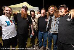 Jeff Kelderman (L>R), Jeff Quilty, Danger Dan, Milwaukee Mike, Roadside Marty Davis, , Aaron Bowen and Steve Broyles at Bling's Cycle party during the 78th annual Sturgis Motorcycle Rally. Sturgis, SD. USA. Tuesday August 7, 2018. Photography ©2018 Michael Lichter.