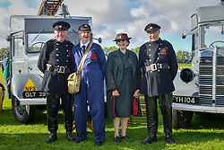 © Licensed to London News Pictures.09/09/2018. Goodwood. West Sussex, UK. <br /> The Goodwood motor circuit celebrates the 20th anniversary of the Revival.The Revival has become one of the biggest annual historic motorsport events in the world and the only one to be staged entirely in period dress. Each year over 150,000 people descend on this quiet corner of West Sussex to enjoy the three-day event. <br /> Pictured. AFS re-enactmentt group .<br /> Photo credit: Ian Whittaker/LNP