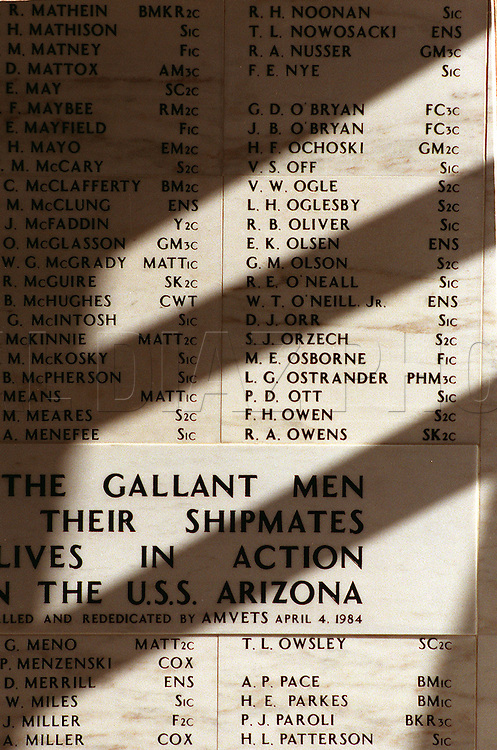 In Memory: Marble wall in Arizona Memorial's Shrine Room lists the crewmen killed on Dec. 7th 1941.