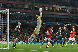 LONDON, ENGLAND - Oct 01: Napoli's goalkeeper Pepe Reina from Spain catches the ball during the UEFA Champions League match between Arsenal from England and Napoli from Italy played at The Emirates Stadium, on October 01, 2013 in London, England. (Photo by Mitchell Gunn/ESPA)