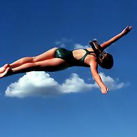 Julie Hogan seems to float through clouds during an effort at the Santa Cruz Coast Athletic League Swimming and Diving Championships.<br /> Photo by Shmuel Thaler <br /> shmuel_thaler@yahoo.com www.shmuelthaler.com