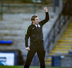 Hibernian's manager Alan Stubbs at the end. <br /> Raith Rovers 1 v 2 Hibernian, Scottish Championship game played 24/10/2015 at Starks Park.