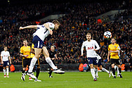 Fernando Llorente of Tottenham Hotspur heads a chance just wide of goal. The Emirates FA Cup, 4th round replay match, Tottenham Hotspur v Newport County at Wembley Stadium in London on Wednesday 7th February 2018.<br /> pic by Steffan Bowen, Andrew Orchard sports photography.