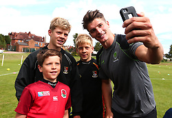 Ben Howard of Worcester Warriors poses for a selfie as Worcester Warriors host a summer holiday rugby camp at Malvern College - Mandatory by-line: Robbie Stephenson/JMP - 16/08/2017 - RUGBY - Malvern College - Worcester, England - Worcester Warriors - Malvern Rugby Camp