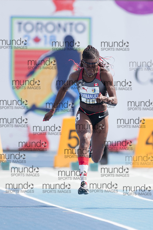 Toronto, ON -- 11 August 2018: Crysal Emmanuel (Canada), 100m semi-final at the 2018 North America, Central America, and Caribbean Athletics Association (NACAC) Track and Field Championships held at Varsity Stadium, Toronto, Canada. (Photo by Sean Burges / Mundo Sport Images).