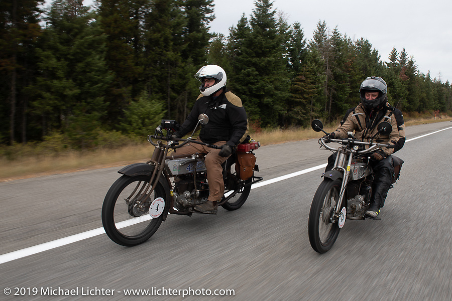 Motorcycle Cannonball coast to coast vintage run. Stage 13 (254 miles) Kalispell, MT to Spokane, WA. Friday September 21, 2018. Photography ©2018 Michael Lichter.