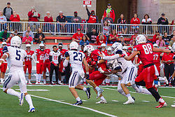 NORMAL, IL - September 04: Austin Nagel continues his forard progress with 3 Bulldogs hanging on during a college football game between the Bulldogs of Butler University and the ISU (Illinois State University) Redbirds on September 04 2021 at Hancock Stadium in Normal, IL. (Photo by Alan Look)