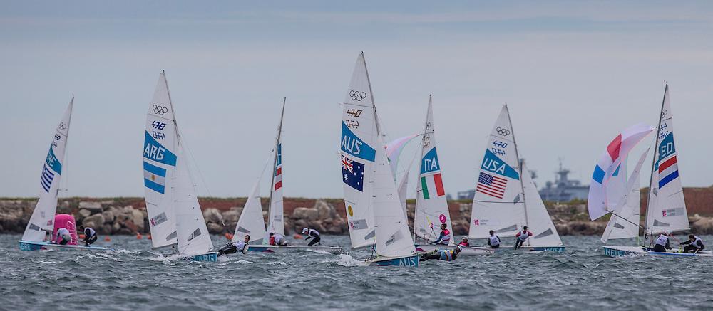 470 men leeward mark<br /> Leading:<br /> Belcher Mathew, Page Malcolm, (AUS, 470 Men)<br /> <br /> 2012 Olympic Games <br /> London / Weymouth