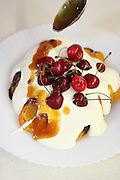 Grilled peaches with Zabaione dessert with cherries and jam