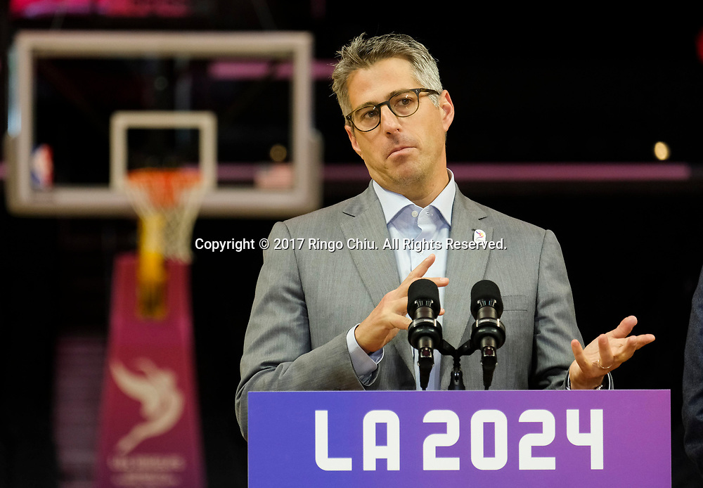 Los Angeles 2024 Chairman Casey Wasserman, speaks in a news conference at Staples Center, Friday, May 12, 2017, in Los Angeles. A team of International Olympic Committee delegates wrap up four days of evaluating Los Angeles' bid for the 2024 Games before heading to Paris to check the only other candidate.(Photo by Ringo Chiu/PHOTOFORMULA.com)<br /> <br /> Usage Notes: This content is intended for editorial use only. For other uses, additional clearances may be required.