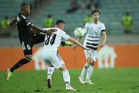 Patrick Adrade (6) of Qarabag FK fights for the ball with Taulant Xhaka (34) of FC Basel  during the UEFA Europa Conference League group H match between Qarabag FK and FC Basel at  on September 16, 2021 in Baku, Azerbaijan.