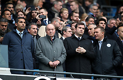 Manchester City chiarman Khaldoon Al Mubarak (left), Former King of Spain Juan Carlos (centre left), chief executive Ferran Soriano (centre right) during the Premier League match at the Etihad Stadium, Manchester.