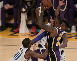 October 31, 2018 - Los Angeles, California, U.S - LeBron James #23 of the Los Angeles Lakers is fouled as he goes to the basket by Harrison Barnes #40 of the Dallas Mavericks during their NBA game  on Wednesday October 31, 2018 at the Staples Center in Los Angeles, California. (Credit Image: © Prensa Internacional via ZUMA Wire)