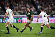 Damian de Allende of South Africa passes the ball during the Rugby World Cup  final match between England and South Africa at the International Stadium ,  Saturday, Nov. 2, 2019, in Yokohama, Japan. South Africa defeated England 32-12. (Florencia Tan Jun/ESPA-Image of Sport)